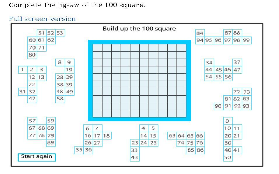 100 Square Jigsaw on Number 10 Puzzle